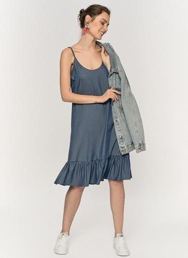 Loves You Ayarlanabilir Askılı Volanlı Tensel Elbise Mavi